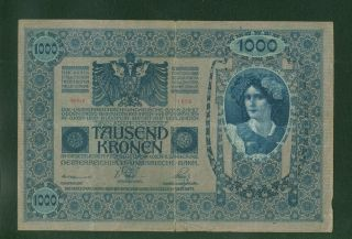 Austria One Thousand (1000) Kronen 1902 Very Large Note 7.  5 In X 5 In photo