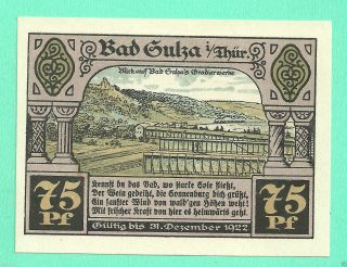 Germany Bad Sulza 75 Pfg.  1921 Gem Unc Notgeld Xxvc2 photo
