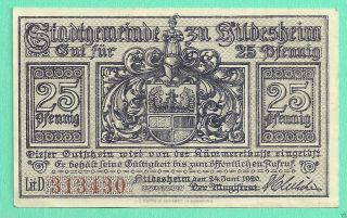 Germany Hildesheim 25 Pfg.  1920 Unc Crisp Notgeld Gem 313430 photo