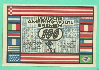 Germany Bremen (1922) 100 Pfg.  Unc Gem Crisp Notgeld (bremen) photo