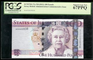 Jersey - 100 Pounds,  2012.  P37a.  Pcgs 67ppq photo