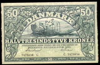 Denmark - 50 Kroner,  1942.  P32d.  Au photo