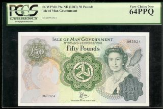 Isle Of Man - 50 Pounds,  1983.  P39a.  Pcgs 64ppq photo