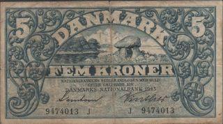 Denmark,  5 Kroner,  1943,  P 30i,  Prefix J photo