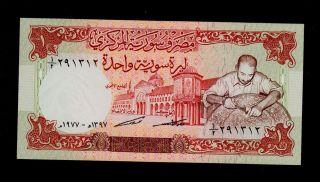 Syria 1 Pound 1977 Pick 99 Unc. photo
