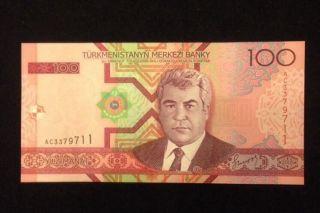 Turkmenistan Unc 100 Manat 2005 P18 Banknote World Currency Paper Money photo