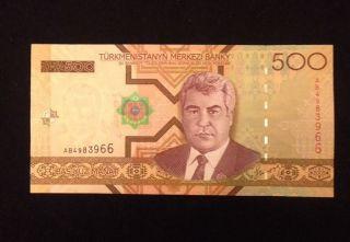 Turkmenistan Unc 500 Manat 2005 P19 Banknote World Currency Paper Money photo