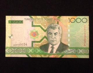 Turkmenistan Unc 1000 Manat 2005 P20 Banknote World Currency Paper Money photo