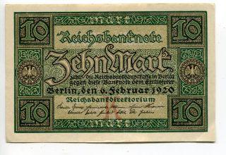 Germany Deutschland 10 Mark 1920 (au+) Reichsbanknote Banknote photo
