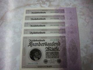 German 5 Consecutive 1,  000,  000 Mark Purple Reichsbanknote photo