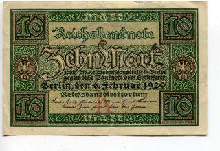 Germany Deutschland 10 Mark 1920 (f) Reichsbanknote Banknote photo