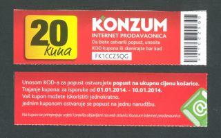 Croatia 20 Kuna 2014 Unc Konzum - Zagreb,  Discount Coupon photo