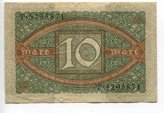 Germany Deutschland 10 Mark 1920 (vf) Reichsbanknote Banknote photo
