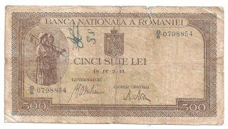 (r411112) Romania Paper Note - 500 Lei 1941 - Vg photo