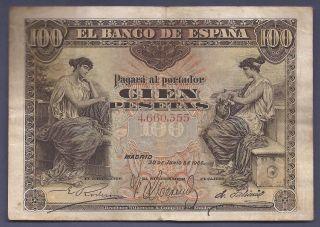 100 Pesetas Madrid 30 Junio 1906 Mbc EspaÑa/spain/spanien El De La Foto photo