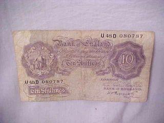 Bank Of England Ten Shillings K O Peppiatt Chief Cashier 1940s photo