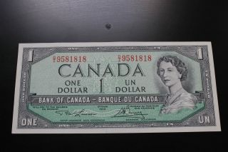 Canadian 1954 $1 Bill.  Almost Uncirculated Take A Look At The Pictures. photo