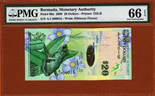 Bermuda $20 Hybrid 2009 First Prefix A/1 Low S/n 000016 P - 60a Pmg 66 Gem Unc photo