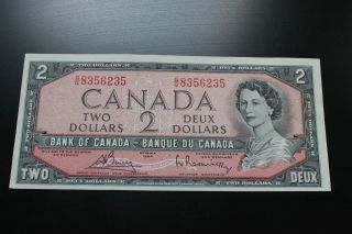 Canadian 1954 $2 Bill.  Almost Uncirculated Take A Look At The Pictures. photo