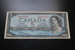 Canadian 1954 $5 Bill.  Circulated Take A Look At The Pictures. photo