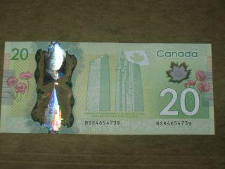 Very Rare Canadian Twenty Dollar Polymer Serial Number Error Misprint Vg+ photo