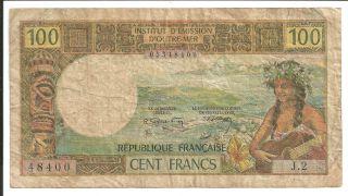 Tahiti 1969 100 Francs Native On A Guitar P23 photo
