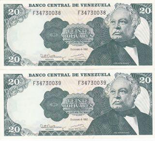 Venezuela: 20 Bolivares,  8 - 12 - 1992,  P - 63d,  Crisp Unc,  2 Consecutive ' S photo
