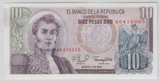 Colombia - Banco De La RepÚblica 1961 - 64 Issue 10 Pesos Oro Pick 407g photo