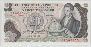 Colombia - Banco De La RepÚblica 1966 - 68 Issue 20 Pesos Oro Pick 409d photo