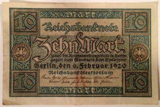 Post Ww1 1920 Weimar Republic Germany 10 Marks Reichsbanknote Currency Money photo