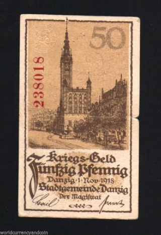 Danzig 50 Pfennigs P9 1918 Non Existing Country Scarce Poland Germany Note photo