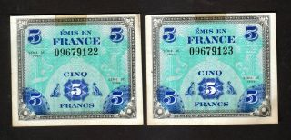 France - 2 X 5 Francs Allied Military Currency - 1944 Serie De photo