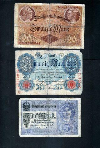 Germany - 3 Older German Marks - photo
