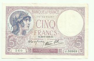 France 5 Francs 20/7/1939 P - 83 Vf++ Crisp photo