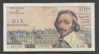 France 10 N.  Francs 01 - 12 - 1960 G - Vg P.  142 photo