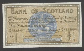 Scotland 1 Pound 1959 Vg - F P.  100 photo