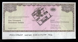 Zimbabwe 1000 Dollars Travellers Cheque Unsign With Stamp Unc Rare photo