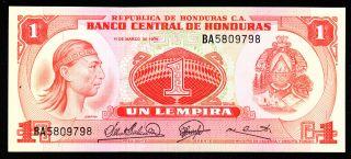 Honduras 1 Lempira 1974 Ba Pick 58 Unc. photo