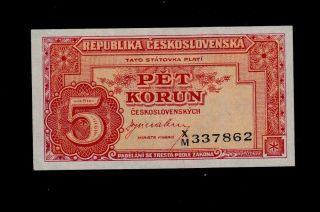 Czechoslovakia 5 Korun (1945) X/m Pick 59a Unc -. photo