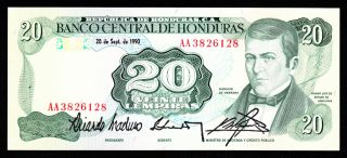 Honduras 20 Lempiras 20 - 9 - 1990 Aa Pick 65c Unc. photo