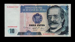 Peru 10 Intis 1986 Pick 128 Xf photo