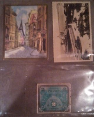 Vintage French 2.  00 Note - Post Card And Other 1944 photo