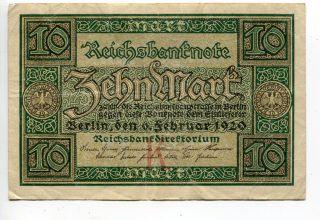Germany Deutschland 10 Mark 1920 (vf+) Reichsbanknote Banknote photo