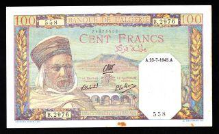 Algeria 100 Francs 1945 Pick 88 Vf. photo