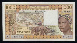 West African States (ivory Coast) P - 107aj 1000 Francs 1990 Unc photo