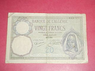 1929 Algeria 20 Franc Note (banque De L ' Algerie) photo