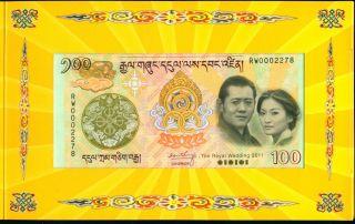 Bhutan 100 Ngultrum 2011 Comm.  Royal Wedding P Unc With Folder photo