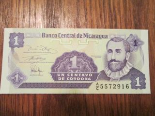 Unc Nicaragua 1991 1 Centavo Bankote P167 Foreign Note Bill Uncircurculated photo