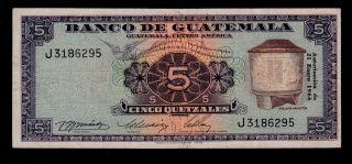Guatemala 5 Quetzales 1966 Pick 53c F - Vf. photo