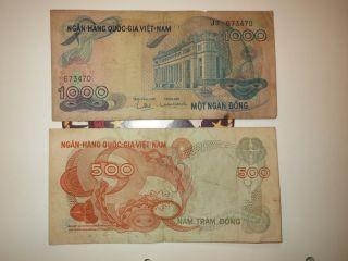 Paper Money - 2 Bills _ Vietnam 1000 Dong 500 Dong _ Vietnam War 1000 Dong photo